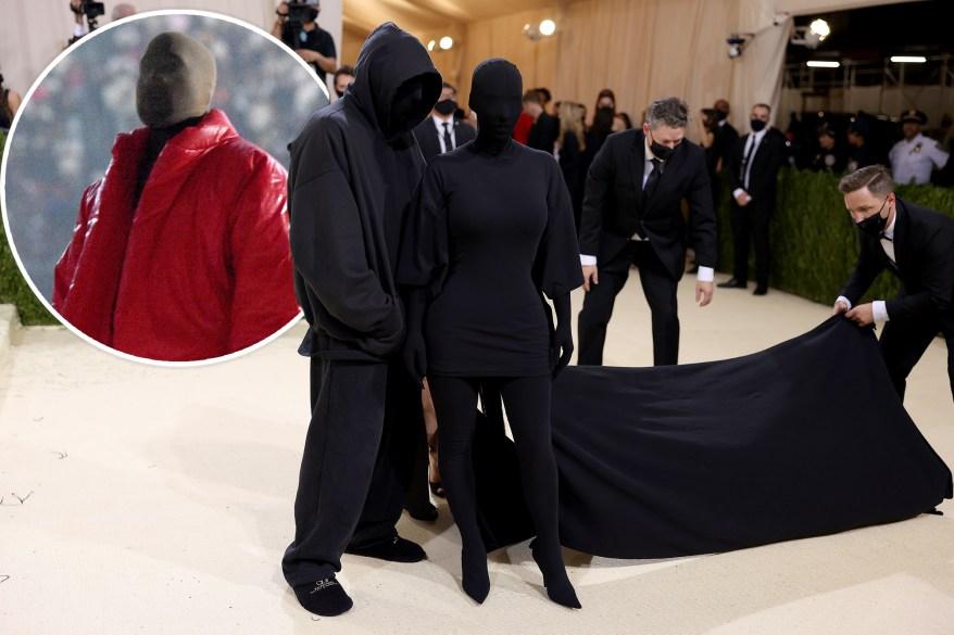 Kim Kardashian took some bondage-style mask inspiration from her ex-husband Kanye West at the 2021 Met Gala.