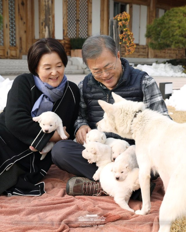 South Korea's president Moon Jae-in and First Lady Jung-sook