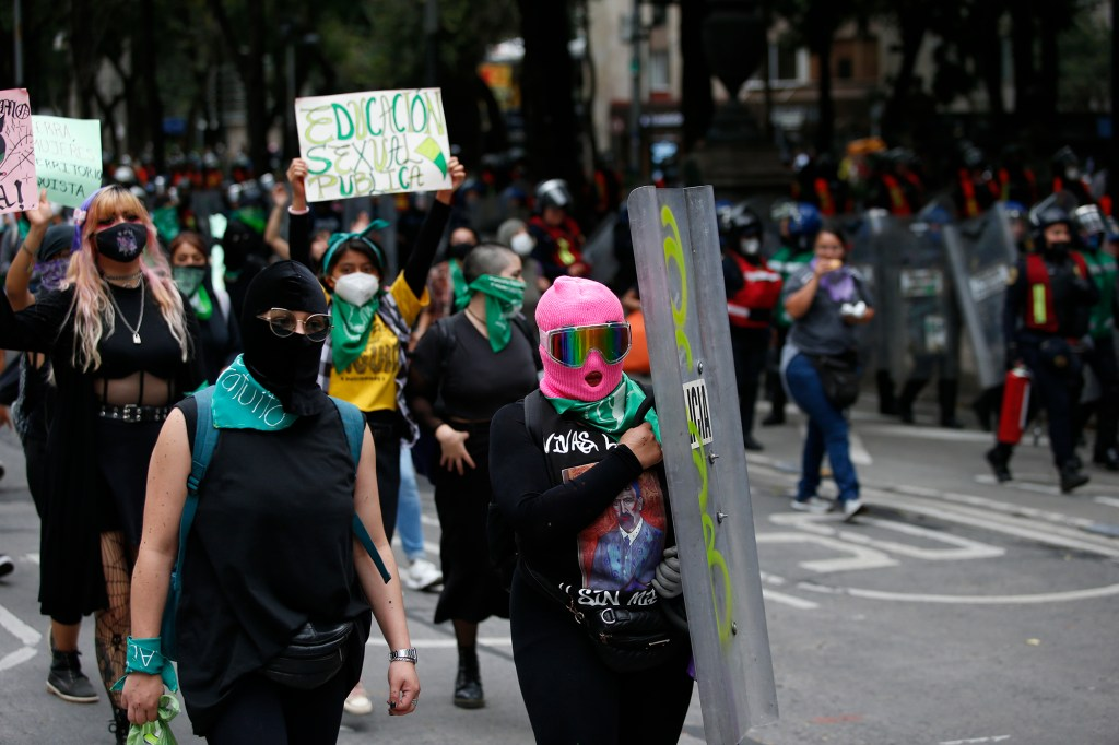 Women participate in an abortion-rights demonstration during the Day for Decriminalization of Abortion in Latin America march, in Mexico City, Tuesday, Sept. 28, 2021.