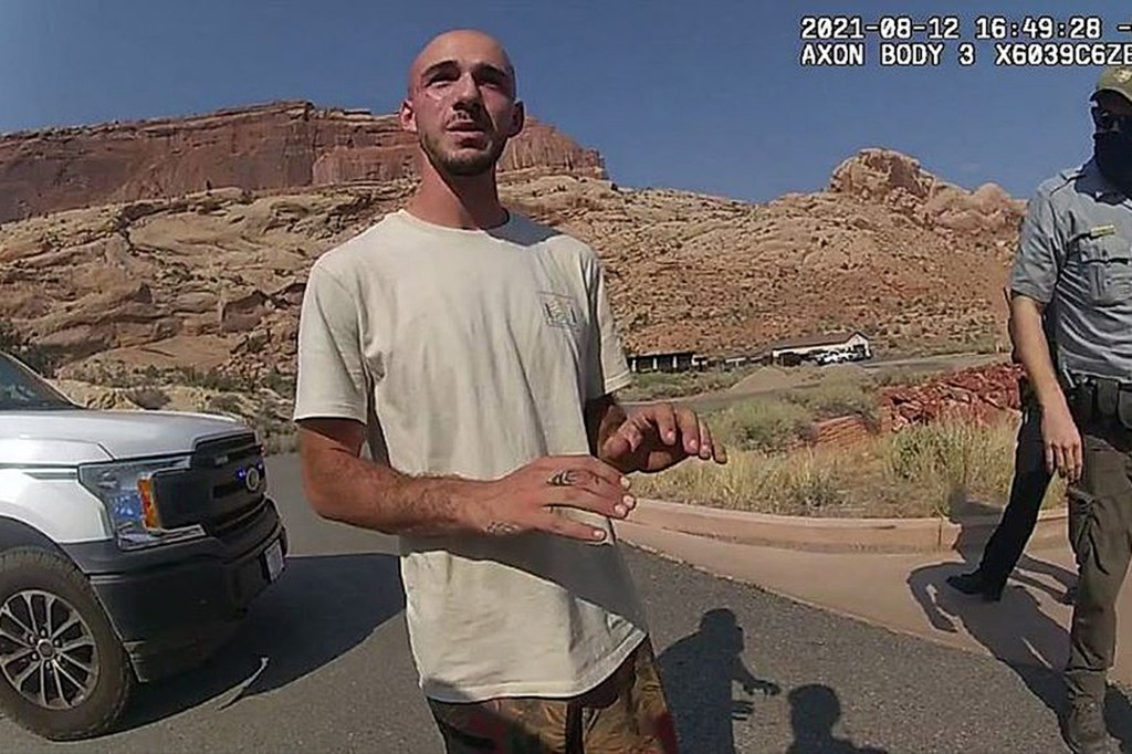 Brian Laundrie shown in bodycam footage from the Moab Police Department on August 12, 2021.