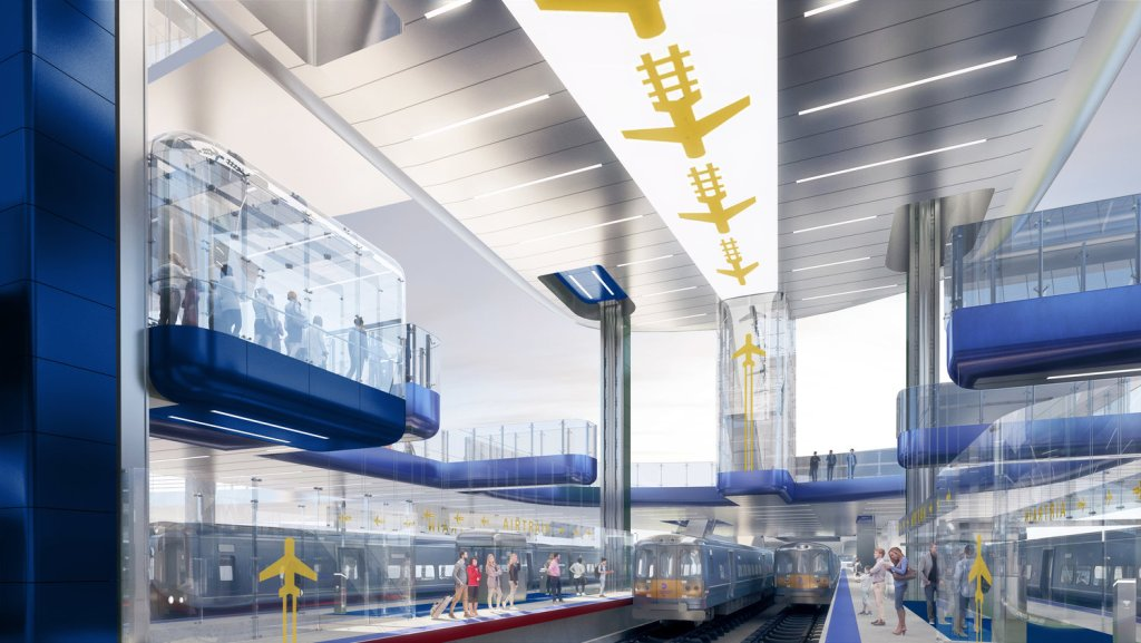 Rendering of the proposed AirTrain connection to Laguardia Airport (LGA)