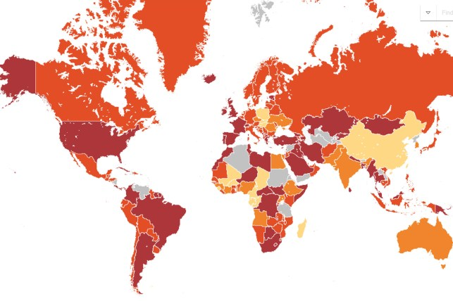 This map shows areas that are more dangerous to travel.