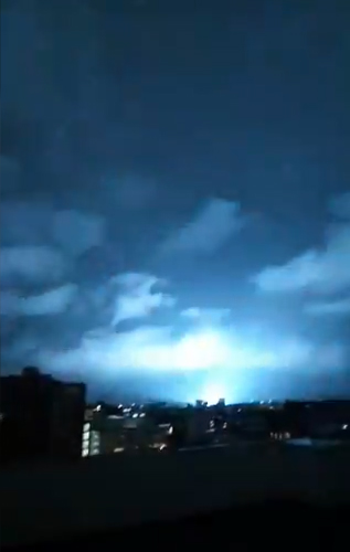 The night sky over Mexico night sky lit from lightning during the earthquake.