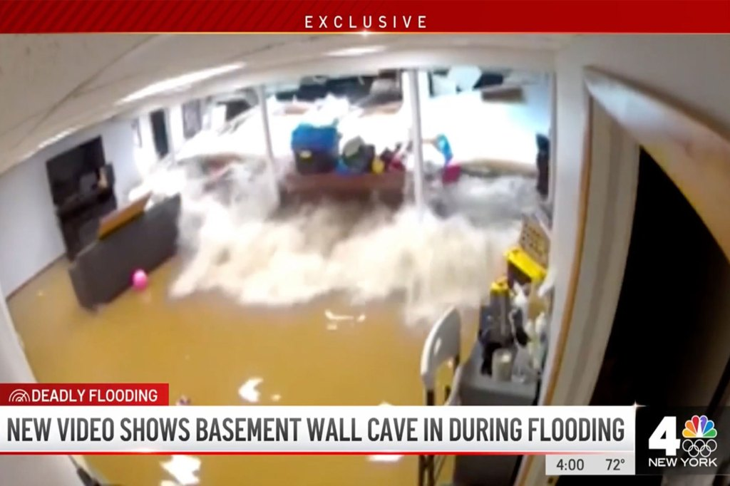Security camera footage captures the exact moment the wall of a New Jersey basement caved to the floodwaters left by Hurricane Ida on Sept. 1, 2021.
