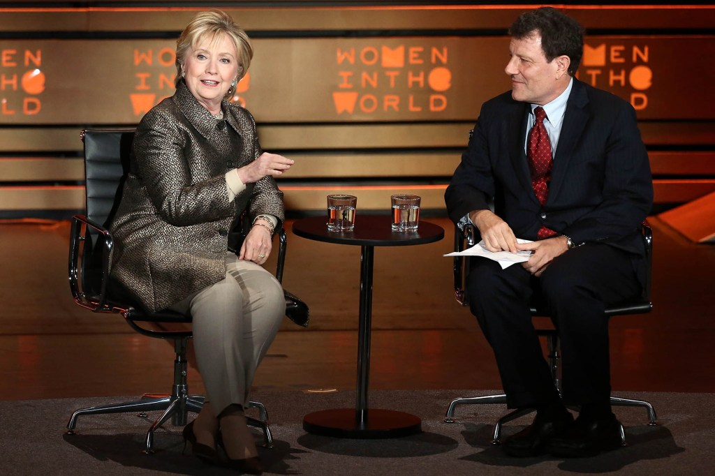 Former United States Secretary of State Hillary Clinton (L) speaks with journalist Nicholas Kristof on stage at the 8th Annual Women In The World Summit at Lincoln Center for the Performing Arts on April 6, 2017 in New York City.