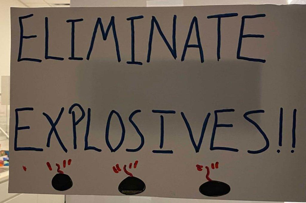 Jet's 'Eliminate Explosives' sign