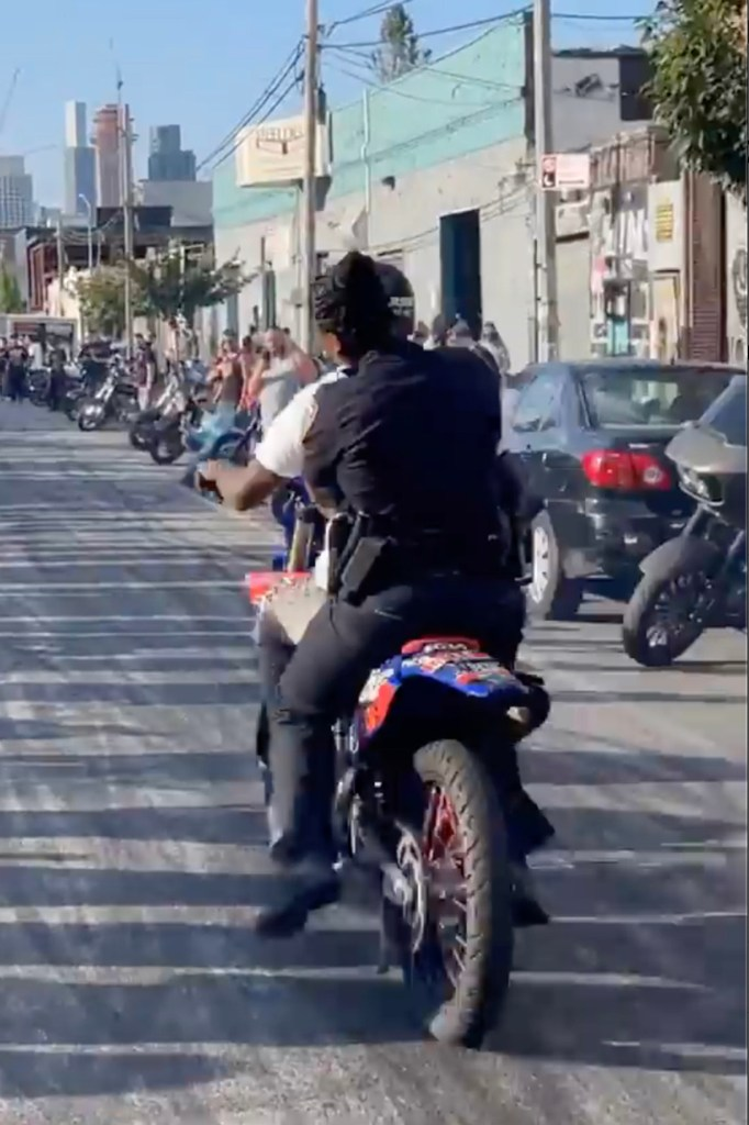 One cop was frustrated by the fellow officer's behavior as the city's Finest is cracking down on illegal dirt bike activity.