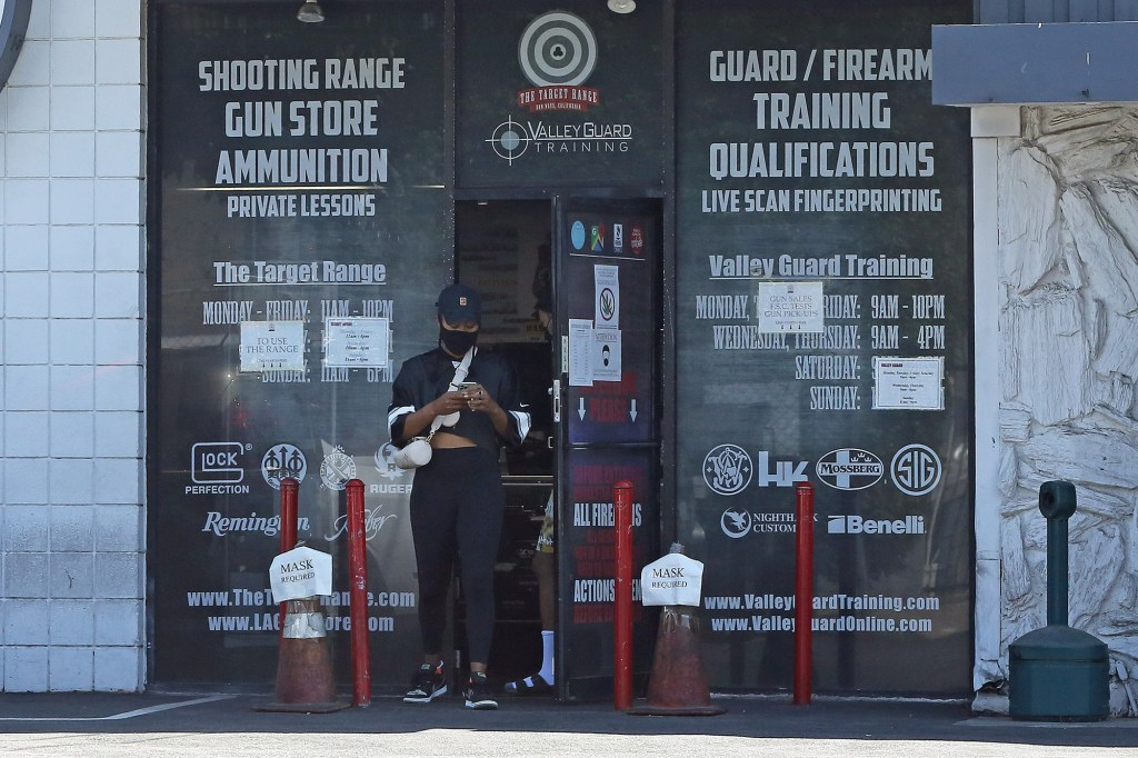Naomi Osaka is seen leaving the 'The Target Range' Shooting range in Van Nuys