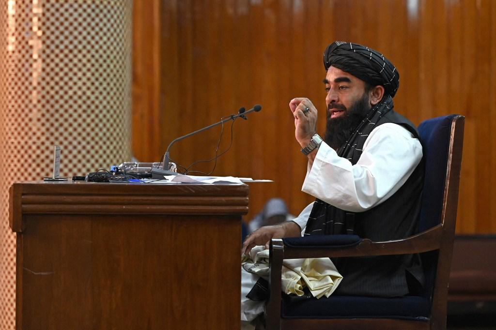 """Taliban spokesman Zabihullah Mujahid said that any resistance to the Taliban would be """"hit hard"""" and to expect a new government to be announced in a few days."""