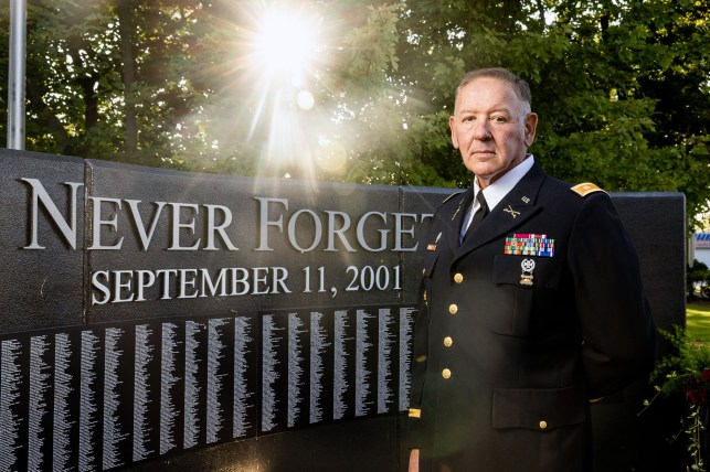 Ryan Yantis poses for a photograph in front of the Wauconda Heroes of Freedom Memorial on August 22, 2021, in Wuconda, IL.