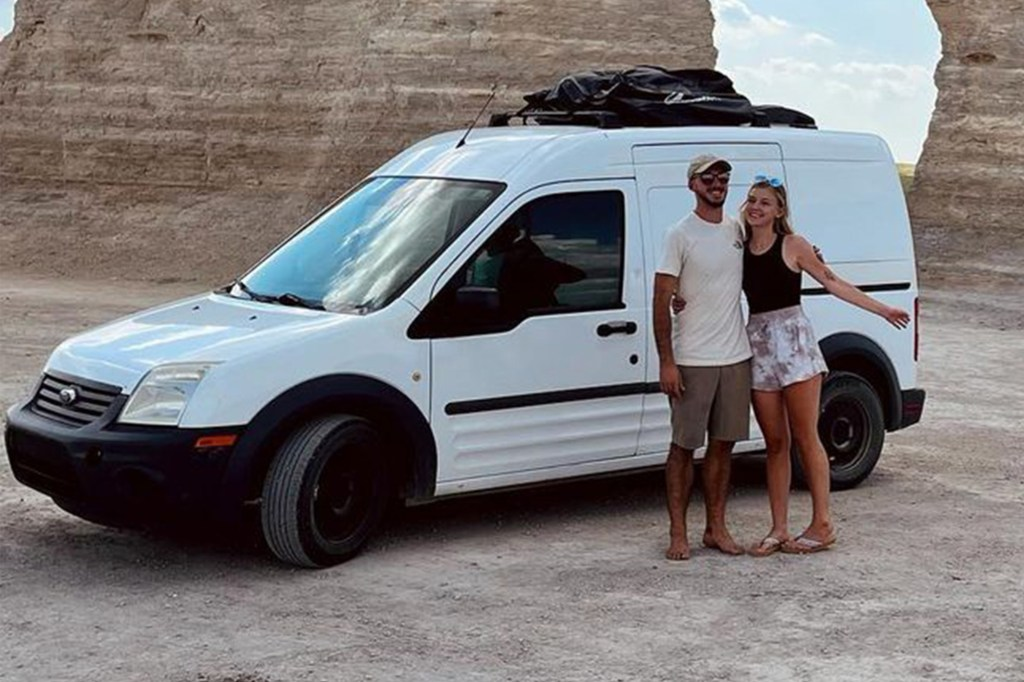 Brian Laundrie and Gabby Petito outside of the van that they were traveling the country in.