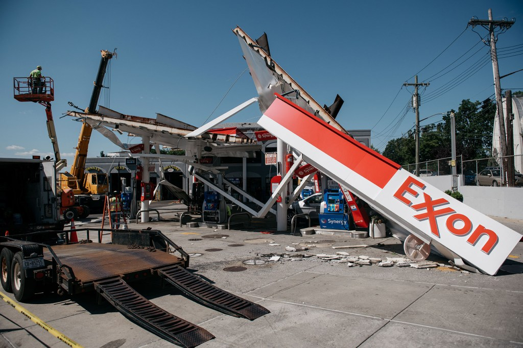 A gas station in the Whitestone neighborhood of Queens was heavily damaged after a night of extremely heavy rain and wind.