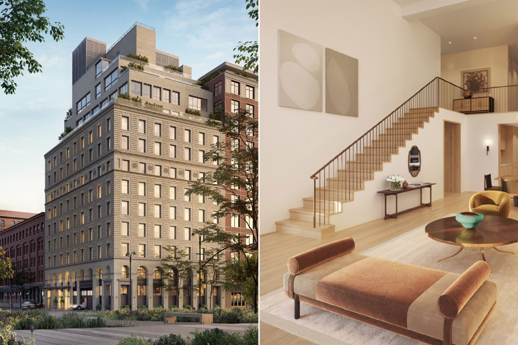 A side by  side of the exterior of 67 Vestry and an interior of its penthouse.