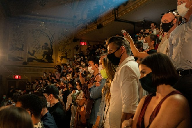 """The audience listens the speech after """"Hadestown"""" reopening night at the Walter Kerr Theatre"""