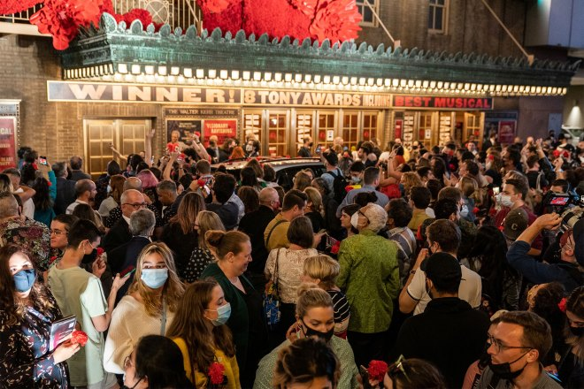 """People gather after """"Hadestown"""" reopening night at the Walter Kerr Theatre In New York City, U.S., September 2, 2021"""