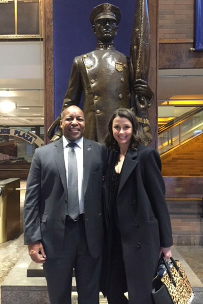 NYPD Detective Wendell Stradford with actor Brigitte Moynihan.