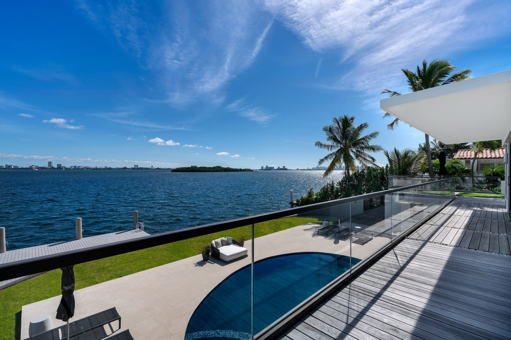 The outdoor pool area of the North Miami home.
