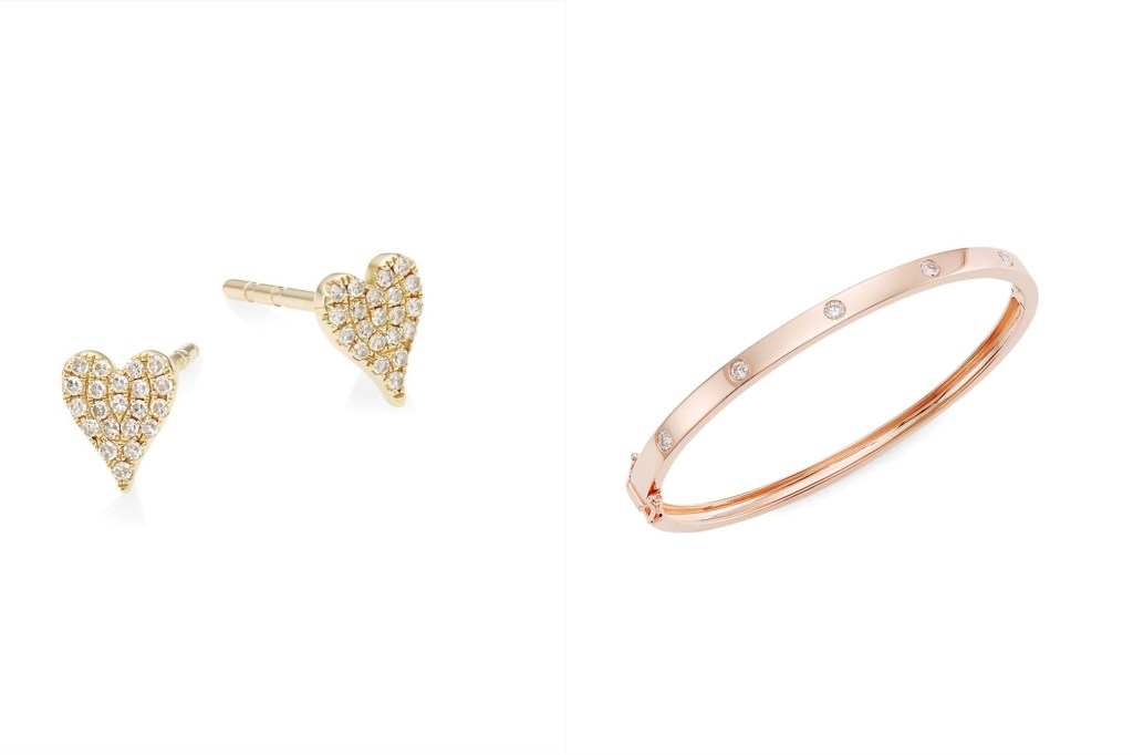 A pair of heart gold earrings and a rose gold cuff bracelet