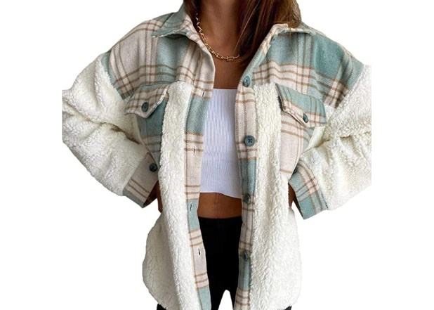 N/D Fleece Plaid Sherpa Jacket