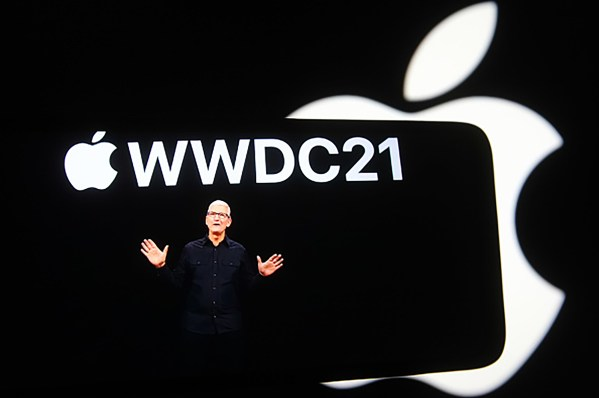 Tim Cook speaking on stage.