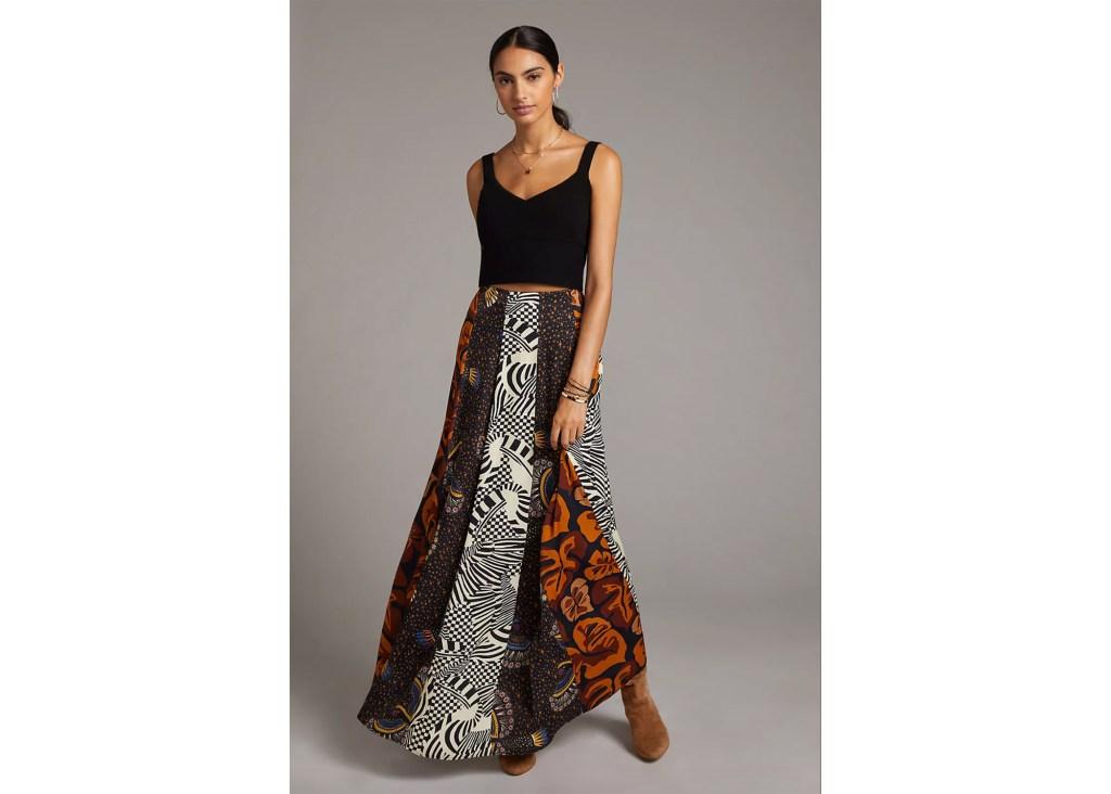 Farm Rio Abstract Contrast Maxi Skirt