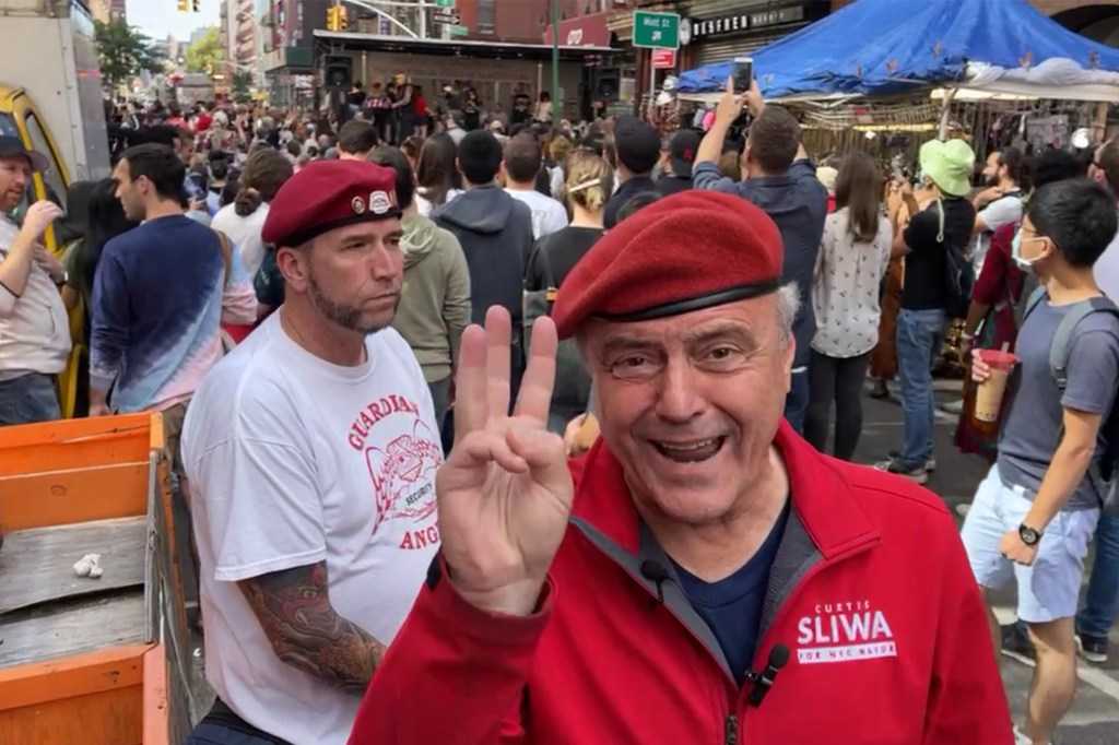 Mayoral Candidate Curtis Sliwa arrived at the meatball eating in the San Gennaro Festival where he was slated to be a guest judge only to find out he was banned.