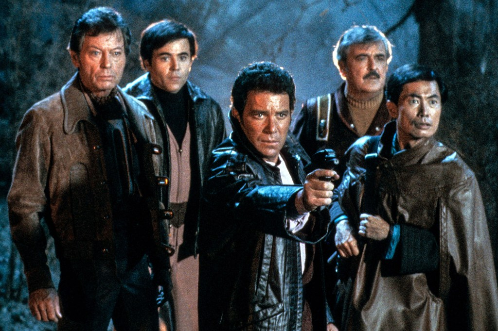 """From left: DeForest Kelley, Walter Koenig, William Shatner, James Doohan and George Takei in the 1984 franchise film """"Star Trek III: The Search for Spock."""""""