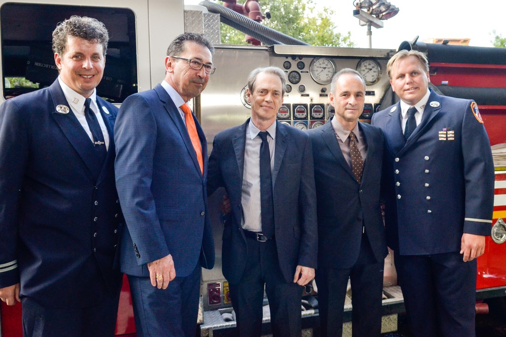 """Joe Downey, Daniel Nigro, Steve Buscemi, Chuck Downey and Robert Brown pose for photographers during the """"A Good Job: Stories Of THe FDNY"""" New York Premiere at Sunshine Landmark on September 4, 2014 in New York City"""