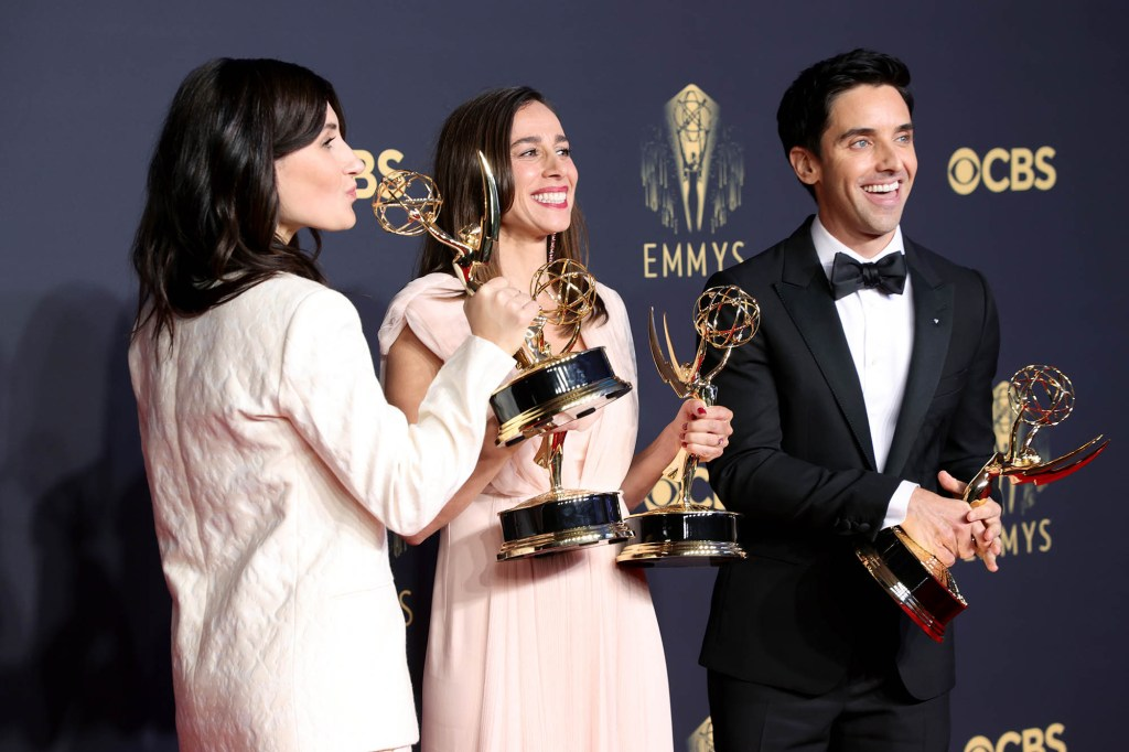 Jen Statsky (Left) and Paul W. Downs (Right) won for Outstanding Writing For A Comedy Series, and Lucia Aniello (Center), winner of Outstanding Directing For A Comedy Series.