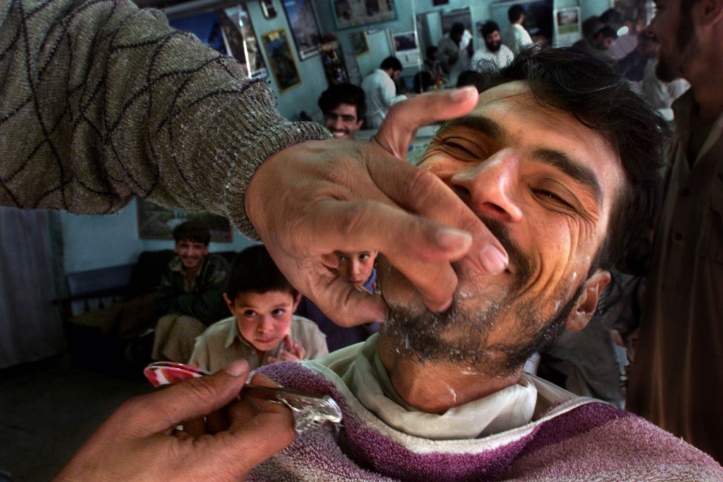 At a barber shop in Kabul.