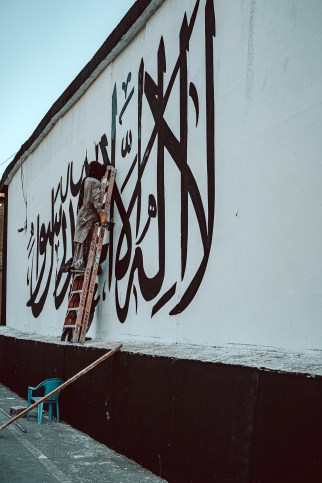 The paint job is a provocation, as embassies typically are considered the property of the nation that owns them.
