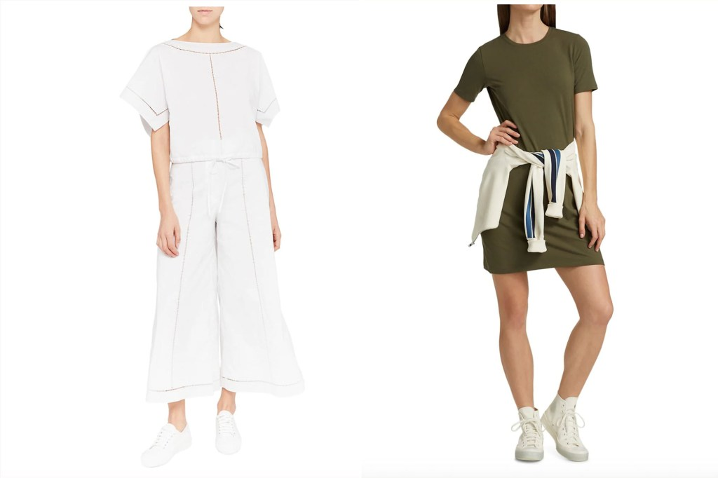 a split image of two women wearing Theory jumpsuits and dresses in white and green