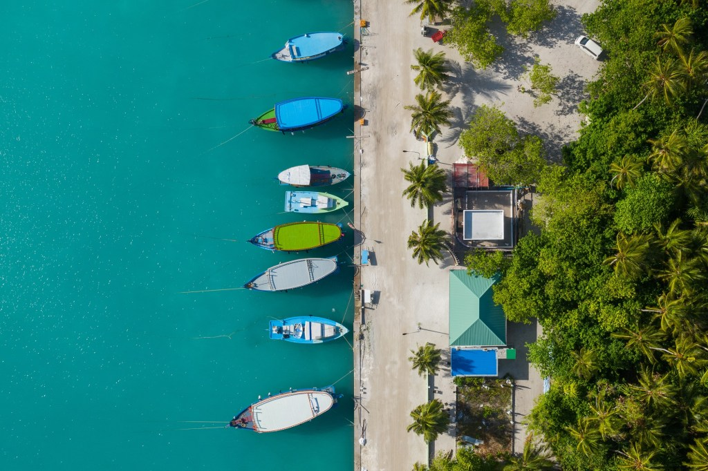 An aerial view of the Maldives.
