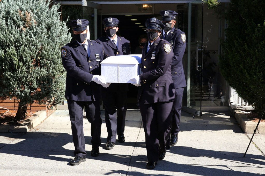 Scene from the funeral of two twins, Zeke and Zane, found dead inside garbage bags that were thrown in the garbage in the Bronx, NY.