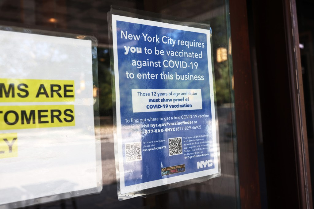 NYC became the first city to start a transition period for proof of at least one dose of the COVID-19 vaccine for workers and customers in order to participate in indoor dining and other activities.