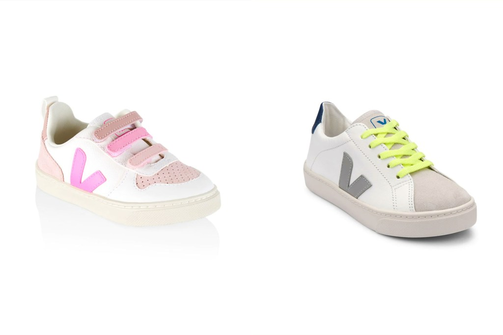 Two pairs of kid's sneakers with a V on the side, one in pink and the other in grey