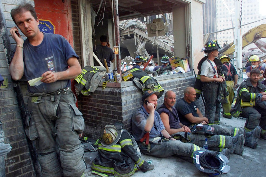 FDNY firefighters near Ground Zero after the terror attacks on September 13, 2001.