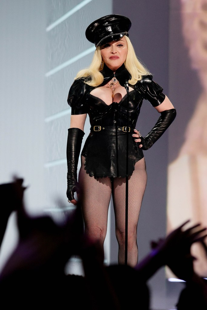 Madonna on stage at the VMAs