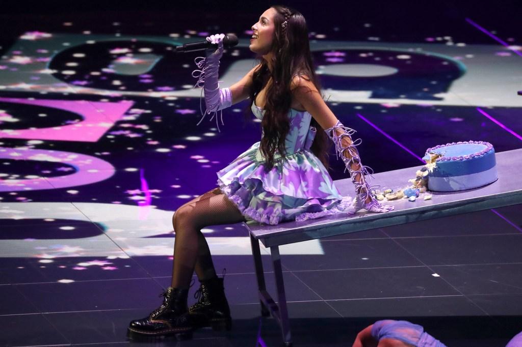 Olivia Rodrigo, won the Push Performance of the Year award, hits the stage at the 2021 MTV VMAs.