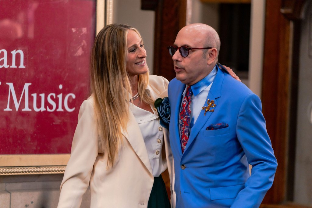 """Sarah Jessica Parker and Willie Garson are seen filming """"And Just Like That..."""" in July."""