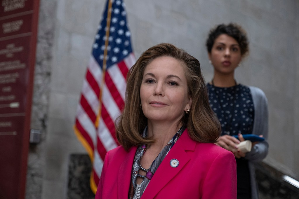 Photo showing Diane Lane wearing a business suit as Yorick's mother,