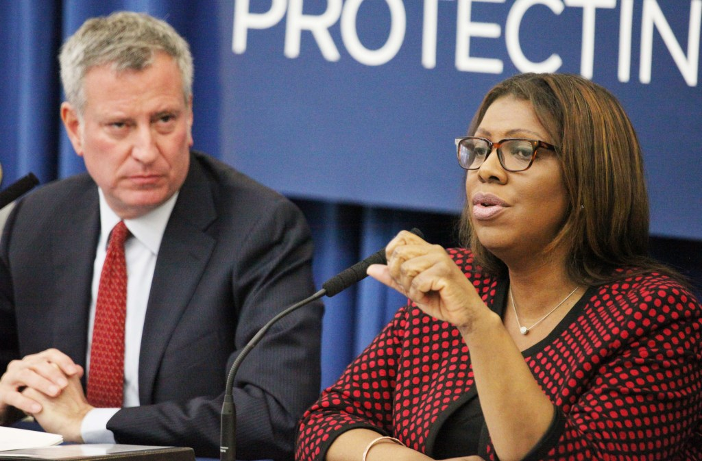 Mayor Bill de Blasio (left) and Attorney General Letitia James (right) have both voiced their interest in joining the governor's race in 2022.