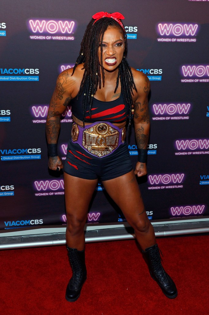 WOW world champion The Beast poses during a news conference announcing ViacomCBS Global Distribution Group's multi-year distribution agreement with WOW - Women of Wrestling at Circa Resort & Casino on October 6, 2021 in Las Vegas, Nevada. New episodes of WOW will launch in syndication in the fall of 2022, with historical seasons expected to be available on CW Seed and Pluto TV platforms in December 2021.  (