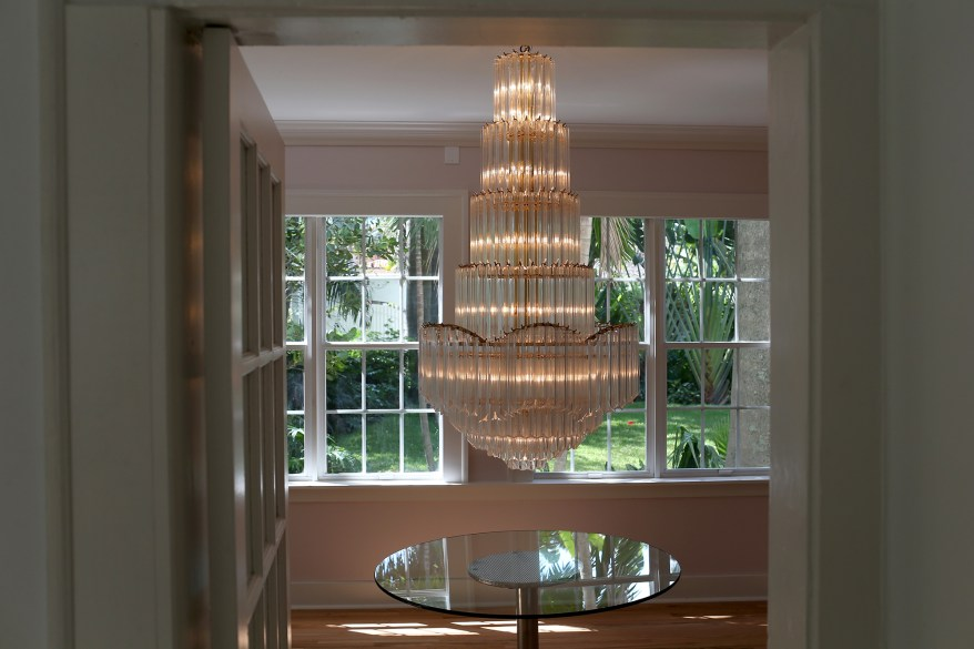 A chandelier is seen in the former home of Al Capone during a tour of the historic house on March 18, 2015 in Miami Beach, Florida.