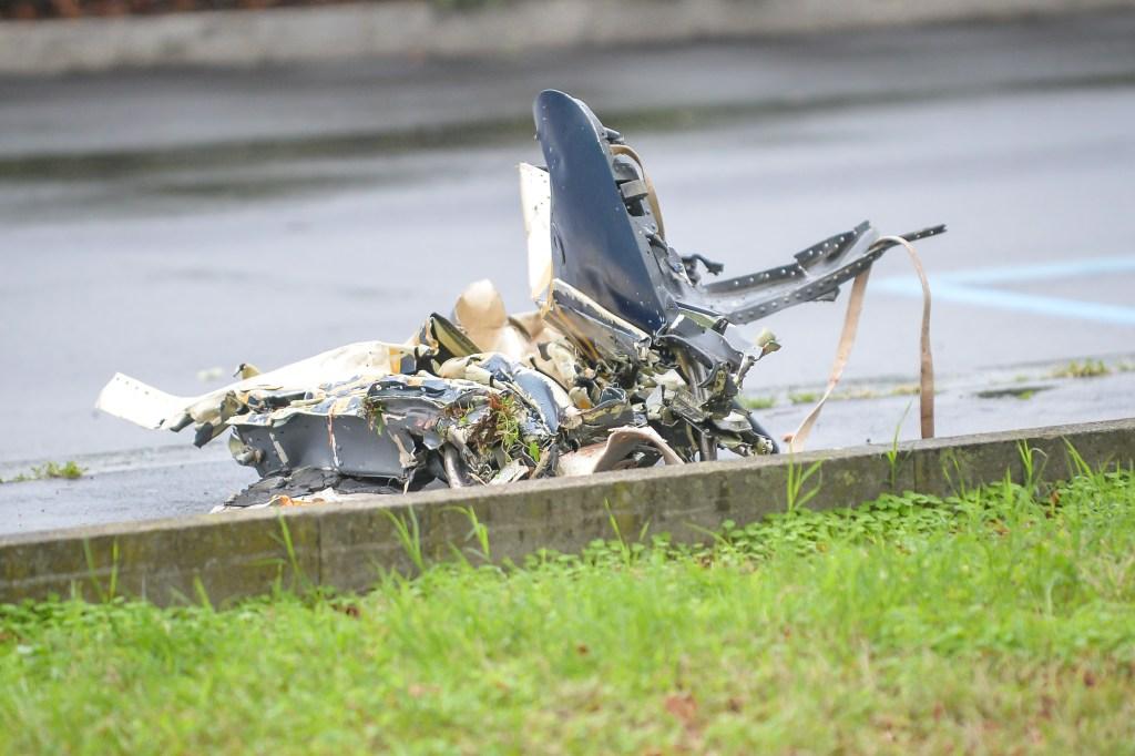 A piece of the plane near the crash site.
