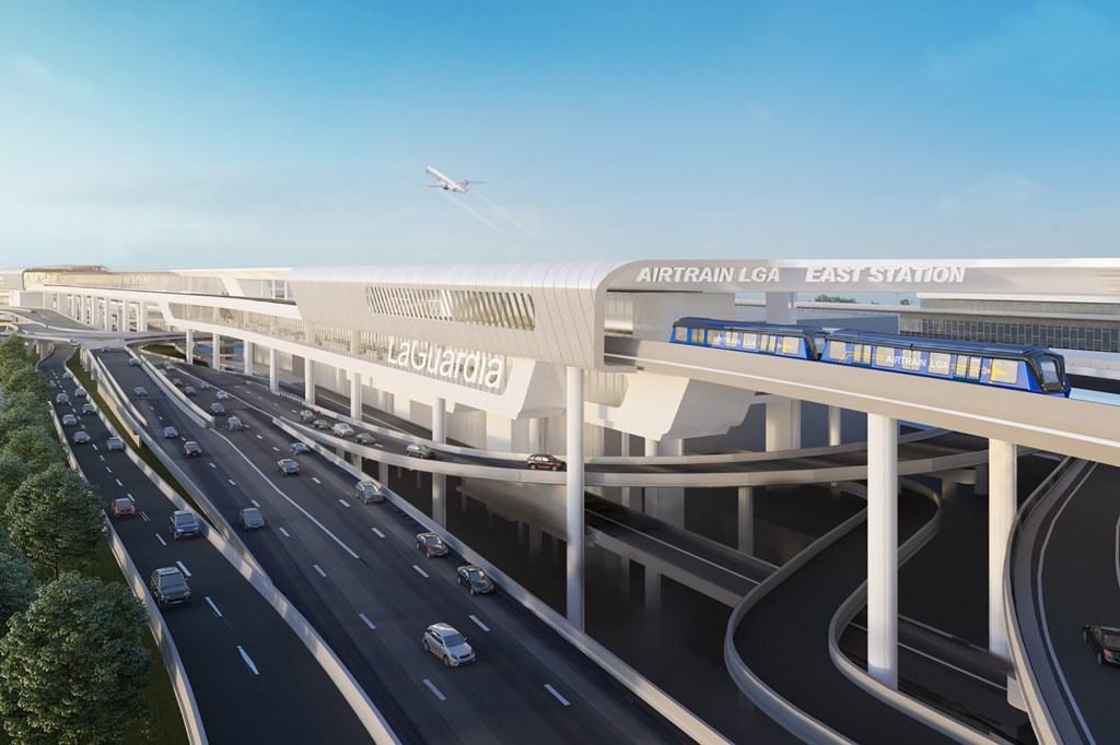 Rendering of the proposed AirTrain connection to LaGuardia Airport.