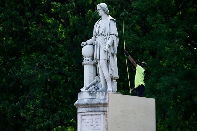 A statue of Christopher Columbus of Philadelphia has been hidden since June 2020.