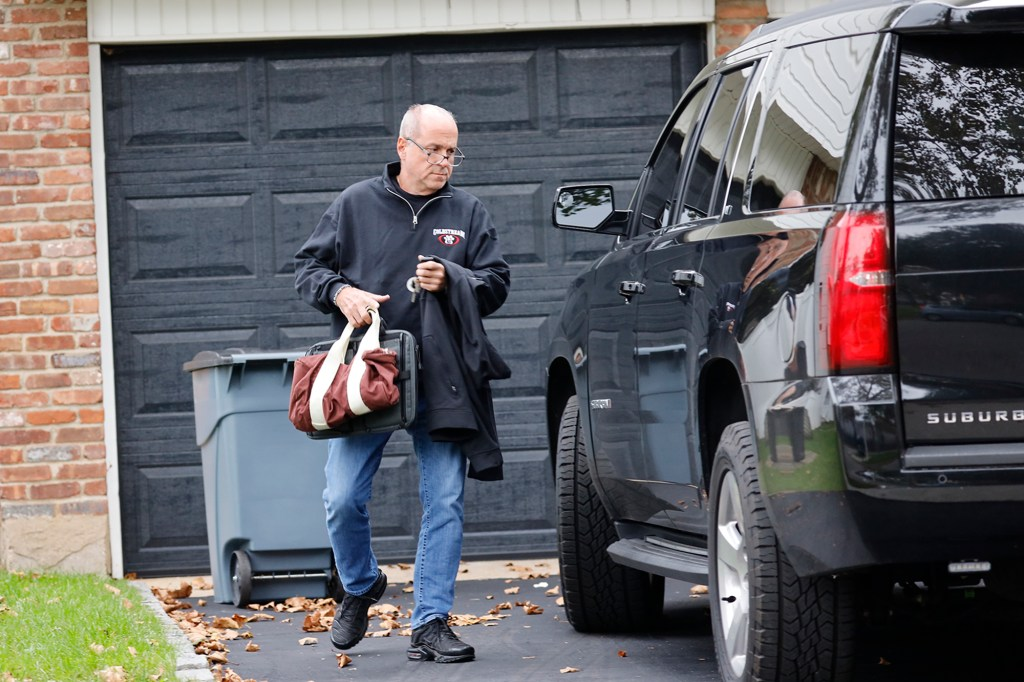Ed Mullins leaving his home