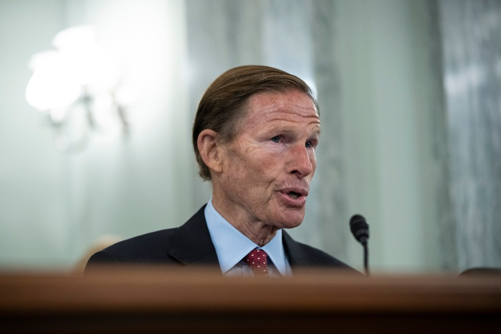 Subcommittee chairman Sen. Richard Blumenthal, D-Conn., questions former Facebook employee and whistleblower Frances Haugen during a Senate Committee on Commerce, Science, and Transportation hearing on Capitol Hill on Tuesday, Oct. 5, 2021, in Washington.