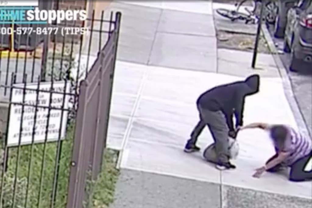The woman desperately clung to her purse causing the would-be thief to flee.